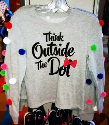 2019 Disney Parks Sweatshirt Minnie Mouse Rock The Dots XS S M L XL Pom Poms