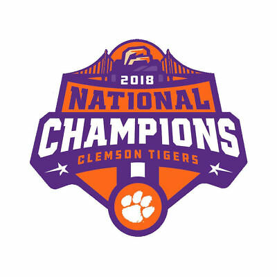 Clemson Tigers 2018 Champions Decal / Sticker 4 Sizes