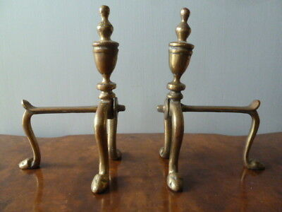 Pair of Vintage Brass Fire Dogs for the Hearth or Fireside - 24cm high