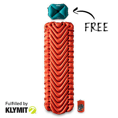 FREE Klymit Pillow X Large with Insulated Static V Sleeping Camp Pad - NEW