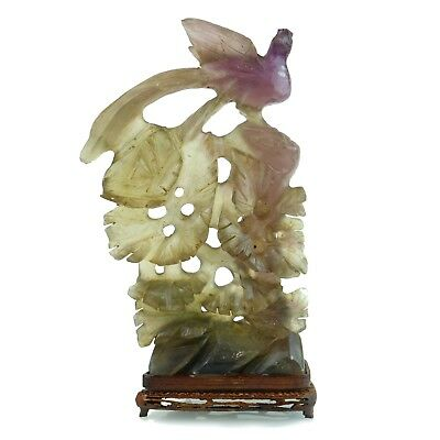 Natural Hand Carved Flourite 'Bird' Phoenix Vintage Good Luck Chinese Collection