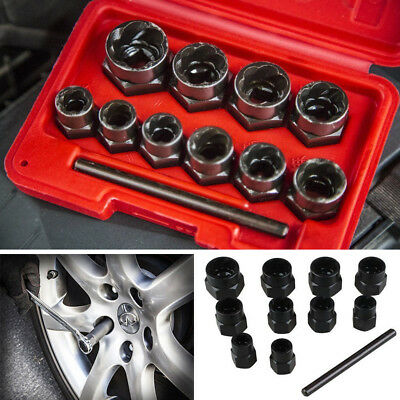 11PCS Locking Wheel Nut Remover Grip N Twist Sockets Damaged Rounded Bolts Tool