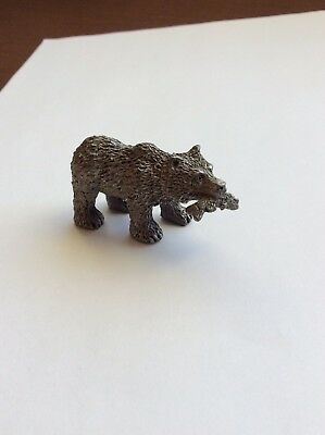 "VINTAGE Spoontiques Bear With A Fish, Salmon? 2071 Pewter 2"" Long"