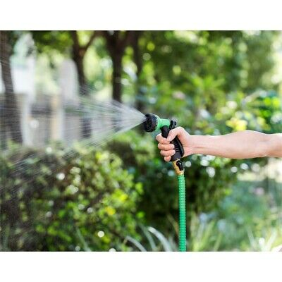 Luxen Home 75ft Green Expandable Water Hose with Water Spray Nozzle