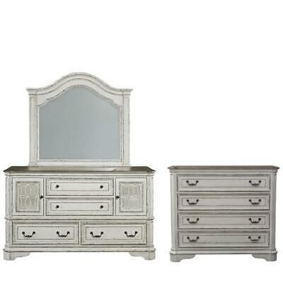 3 Piece Rustic Farmhouse Set with Mirrored Dresser with Media Chest