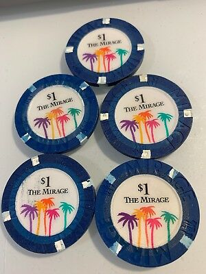 The Mirage $1 LOT OF 5 Casino Chips Las Vegas Nevada 2.99 Shipping