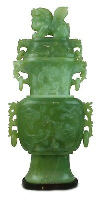 Vintage Hand Carved Natural Jade 'Protectors' Vases Good Luck Chinese Collection