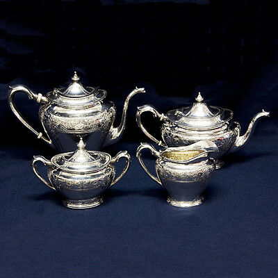 Handsome 4 piece Sterling Silver Tea and Coffee Set with a Unique Pattern...