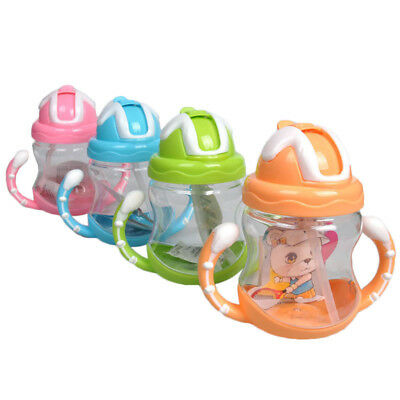 Horn Handle Shape Child Straw Water Kettle Bottle Portable 320ML Baby Durable