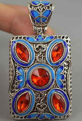 China Gift Decorate Tibet Silver & Cloisonne Carve Flower Rare Noble Pendant