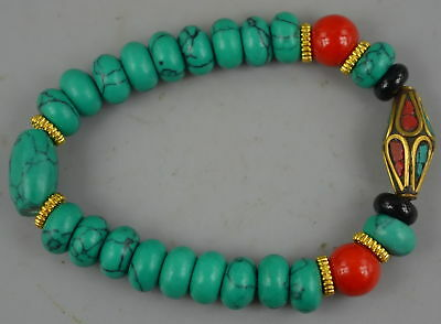 Collect China Gift Decorate Turquoise Carve Bead Rare Lucky Elastic Bracelet