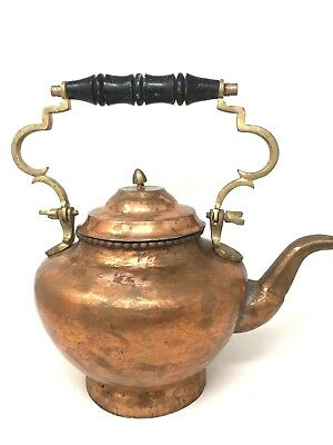 Vintage Hammered Copper & Brass Teapot Kettle Middle Eastern Large 14 Inches