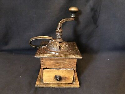 Antique Coffee Grinder~Hand Crank~Table Model~Cast Iron Top~Wood Bottom