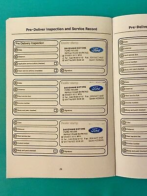 Ford Service Book (Stamped) Service History Fiesta Ka Mondeo Focus All