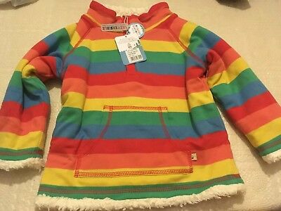Frugi Snuggle Fleece Rainbow Stripe Reversible Jumper 18-24
