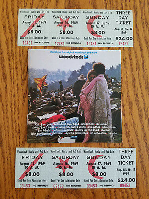 Authentic 1969 Woodstock Music and Art Fair 3-Day Full $24 Tickets   (2 Tickets)