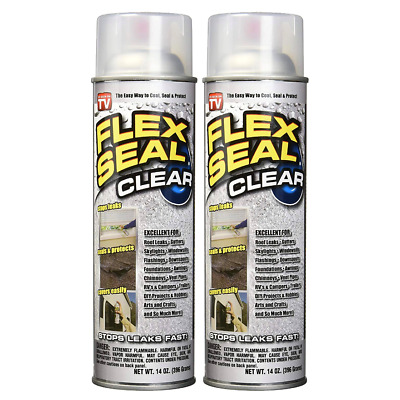 FLEX SEAL Spray Rubber Sealant Coating, 14-oz, Clear (2 Pack) - As Seen On TV