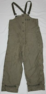 Original Wwii Us Navy Usn Wool Lined Deck Overalls, Marked To Commanding Officer