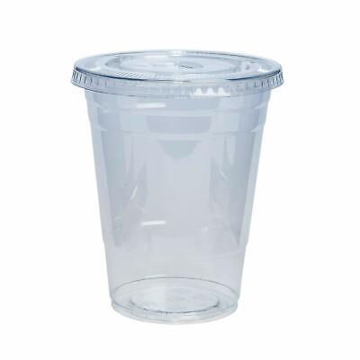 200 pack 12oz - 20 oz Cold Smoothie Go Plastic Cups + Flat Lids with Hole