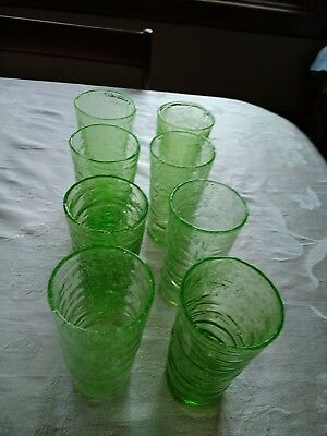 8 Consolidated Glass Catalonian green emerald Tumblers lot of 8