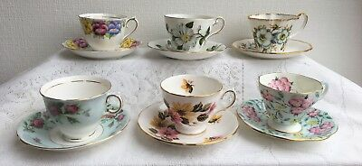 Lot of 6 Tea Cup Matching Saucers Royal Albert Crown China, Foley, Salisbury etc