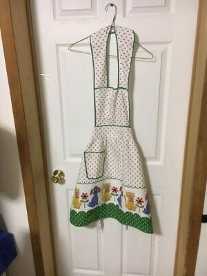 Vintage homemade bib apron-stylized dog & cat pattern-floral