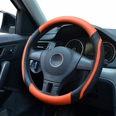Car steering wheel cover Breathable Micro Fiber Leather material 38MM Orang1