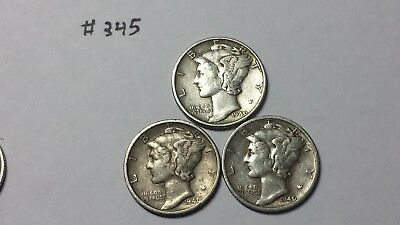 Mercury Dimes - 1940 P,D,S - Lot of 3 - 90% Silver Mercury Dimes (#345)
