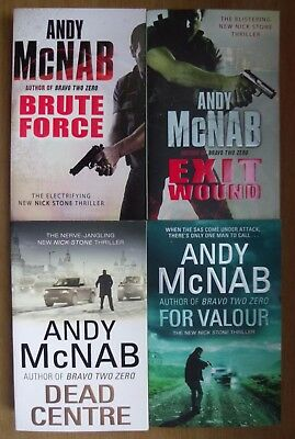 Brute Force + Exit Wounds + Dead Centre + For Valour by Andy McNab (4 pbs)AS NEW