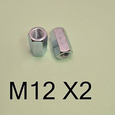Thread Rod Bar Stud Hexagon Hex Connector Connecting Nut Zinc Long Nuts M12 X2