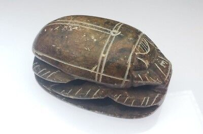 "Vintage Carved Large 3.5"" Stone Egyptian Scarab Paperweight"