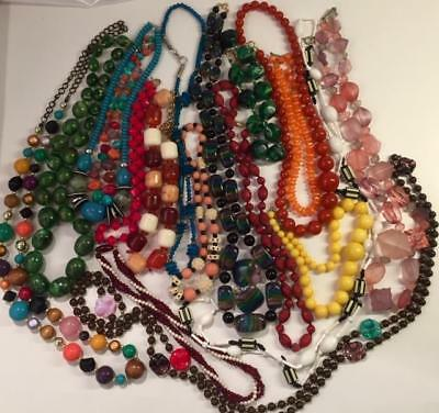 18 Vtg. Colorful Lucite Plastic Resin Bead Necklace Lot Chunky Mod Rainbow Swirl