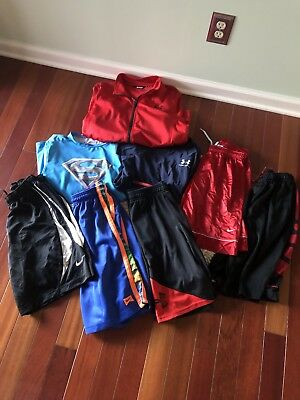Lot of 8 Under Armour Nike Youth Boy M/L/XL Shorts Top Jacket