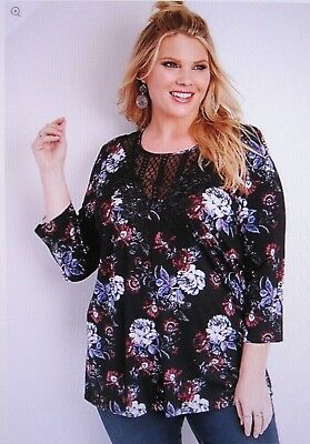 3e17a6889e1 MAURICES~NEW WITH TAGS~TEAL & Black Velvet Yoke Floral Top~Plus Size ...
