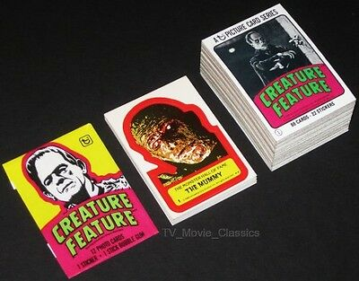 CREATURE FEATURE © 1980 Complete 88 Card & 22 Sticker Set + Wrapper 1960s Horror