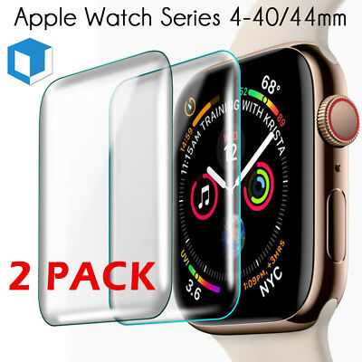 2 PCS For Apple Watch Series 4 3D Edge Tempered Glass Screen Protector 40mm 44mm