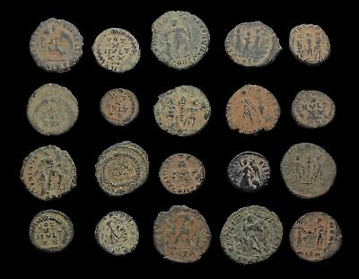 Lot of 20 nice quality uncleaned Roman coins, sand patinas, AE3/4
