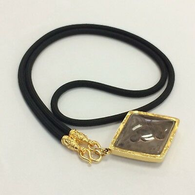 Black Nylon Rope Gold Thai Amulet Buddha Necklace 28 Inches Accessories Jewelry