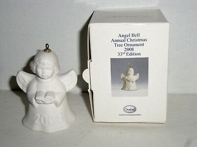 Goebel Annual White Bisque Angel With Songbook Bell Ornament 2008 In Box