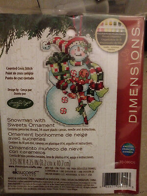 Counted Cross Stitch Kit SNOWMAN WITH SWEETS ORNAMENT Susan Winget