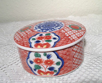 Vintage TAKAHASHI Japan Porcelain Trinket Jewelry Box Floral Design EUC