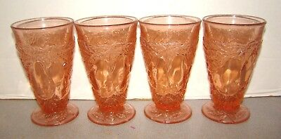 Indiana Pink Depression Glass Avocado 4 Tumblers