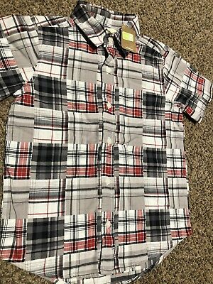 Crazy 8 By Gymboree Boys XS 4 Short Sleeve GreyBlack Plaid Button Down Shirt NWT