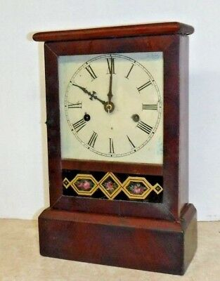 ANTIQUE AMERICAN WATERBURY COTTAGE CHIME CLOCK WORKING c.1860 PENDULUM KEY