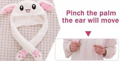 Cute Rabbit Pinching Paw To Move Jumping Bunny Ears Cap Plush Knit Hat Gift US