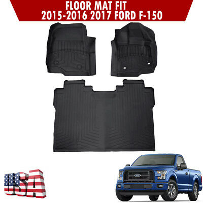 2015 2018 Ford F 150 Super Crew Cab All Weather Rubber Floor Mats