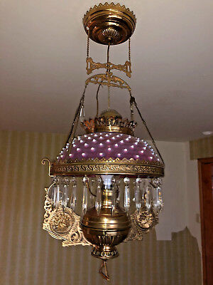 Antique Victorian Oil Lamp Cranberry Hobnail Glass Shade Brass Chandelier