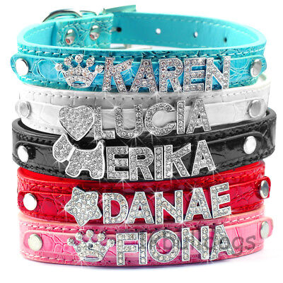 Personalized PU Leather Dog Cat Collar With DIY Name Letters Charms Custom XS-L
