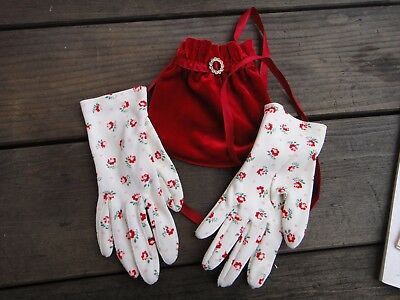 Vintage Red Velvet Purse And Floral Gloves