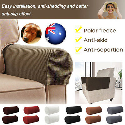 2Pcs Dirt Stain Resistant Armrest Covers Stretch Chair Sofa Couch Arm Protectors